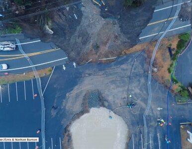 Gigantyczny lej krasowy na autostradzie w stanie Oregon
