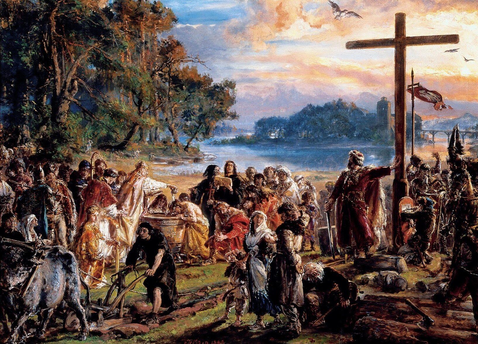 """Postać, która na obrazie """"Zaprowadzenie Chrześcijaństwa"""" opiera się o krzyż to:"""